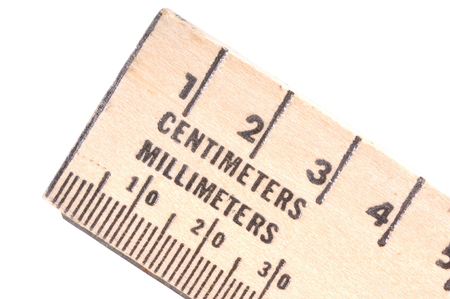Wooden ruler with centimeters and millimeters