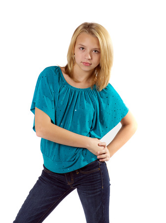Tween girl with attitude.
