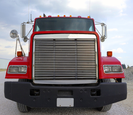 Front end of large semi-tractor rig.