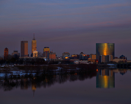 Indianapolis skyline at dusk