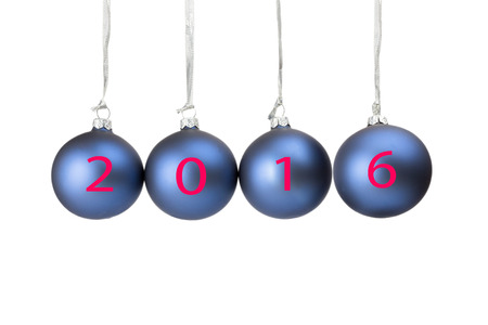 successively: Four blue christmas balls or baubles symbolizing new year 2016 isolated on white background