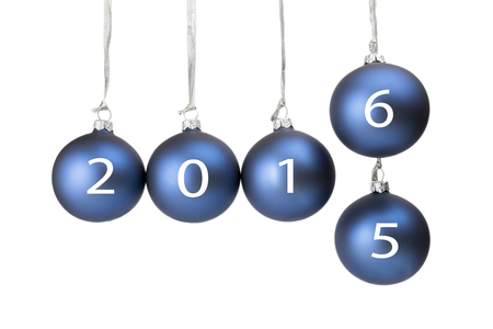 successively: Five blue christmas balls or baubles symbolizing old and new year 2016 isolated on white background