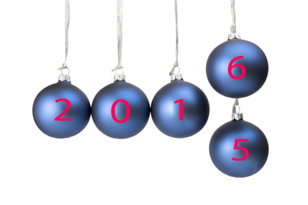 successively: Five blue christmas balls or baubles with numbers of old and new year 2016 isolated on white background