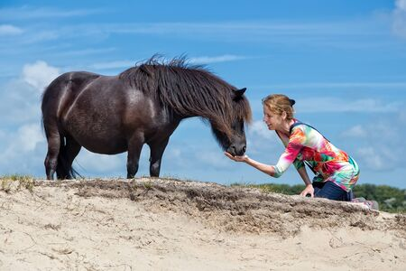 horse laugh: Caucasian middle aged woman kneeling feeding black pony in nature
