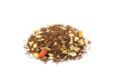 red bush tea: Heap of loose red bush hot spicy winter tea isolated on white background