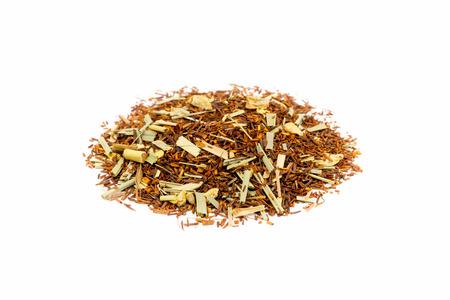 red bush tea: Pile of Loose lemon ginger summer tea isolated on white background