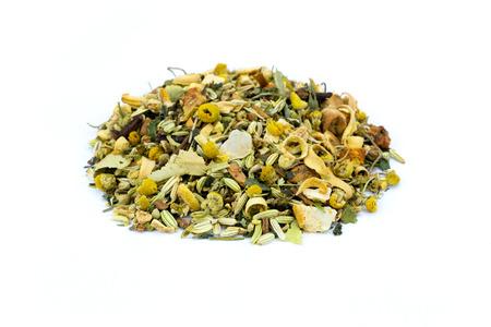orange peel clove: Heap of loose mixture of herbal tea on white Stock Photo