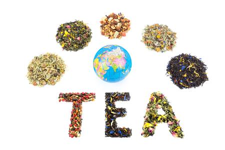 tastes: Word TEA globe and various tastes tea