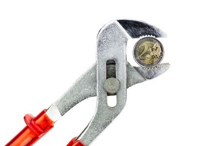 Water pump pliers holding euro coin