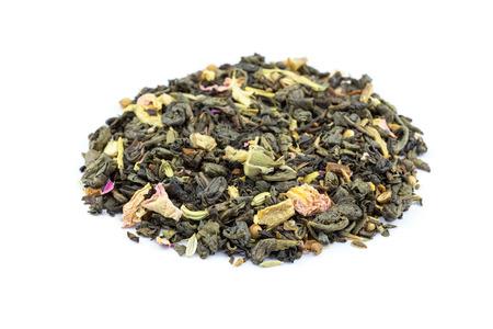 flower power: Heap of blend biological loose Flower Power tea isolated on white Stock Photo