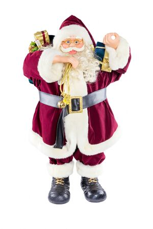 artificial model: Standing artificial model of Santa Claus isolated on white background