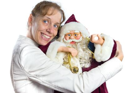 embracement: European woman embracing model of Santa Claus isolated on white background Stock Photo