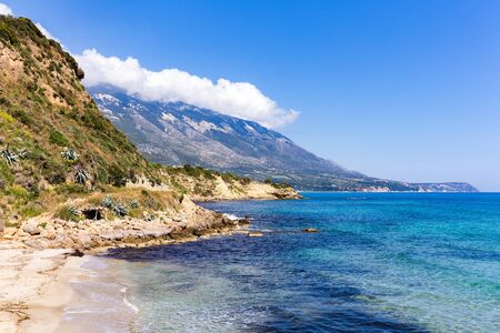 kefallinia: Mountain landscape at coast  with blue ocean in Kefalonia Greece Stock Photo