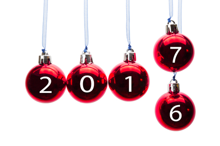 6 7 year old: Red christmas balls old to new year 2017 isolated on white background Stock Photo