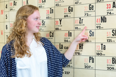 scientifically: Female school pupil pointing at wall chart periodic table in chemistry lesson
