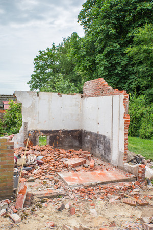 Walls and bricks of demolished house with trees