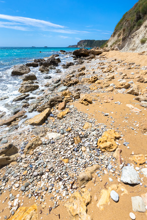 Landscape shore with sea and rocks in Kefalonia Greece