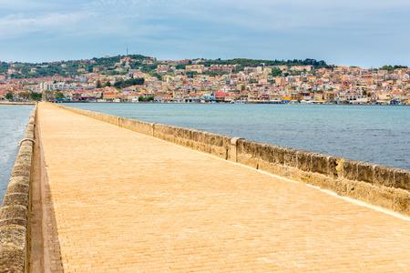 Greek City Port Argostoli with yellow road on bridge
