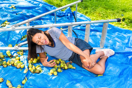 Young fallen woman lying injured on ground near ladder and pears