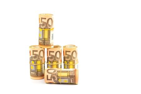 Rolls of euro money isolated on white background