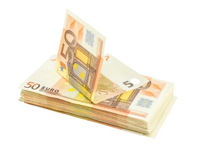 Pile of euro bills isolated on white background
