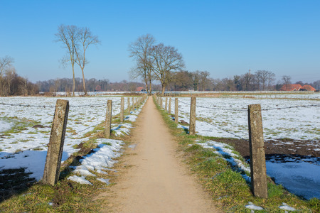 Sandpath for cyclists and walkers between snowy meadows in dutch winter