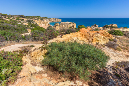 Rocky mountains and vegetation at shore in Portugal