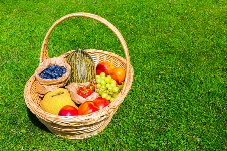 Wicker basket on green grass filled with summer fruit