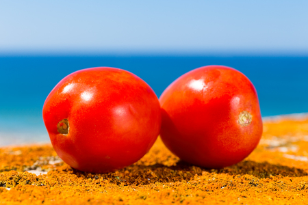 Two red tomatoes with blue sea and sky Stock Photo