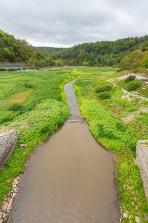 The river Edersee in Sauerland Germany was almost dried out