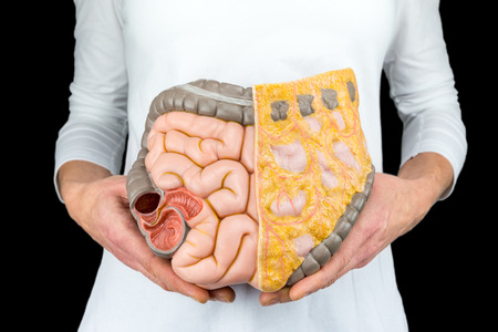 Female person holds human intestines model at body isolated on black background