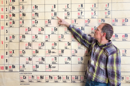 Chemistry teacher points at periodic table on wall chart hanging in high school