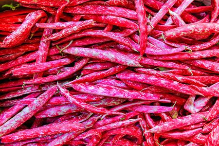 Heap of red Borletto beans for sale as vegetable on market Фото со стока - 131026987