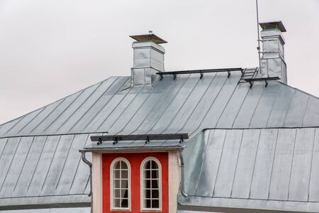 Metal zinc roof on house in Finland