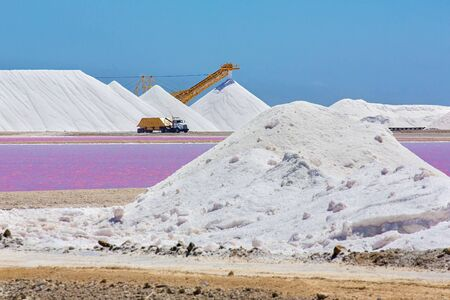 Landscape with salt mountains transporting truck on Bonaire