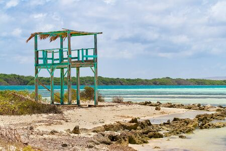 Wooden lookout tower at coast on island Bonaire