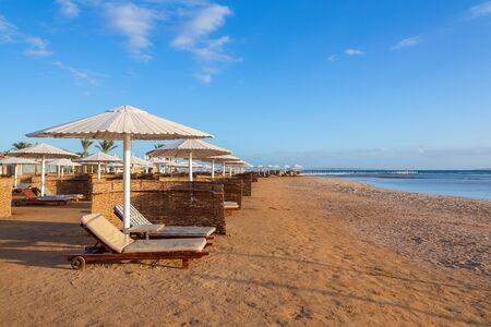 Egyptian coast with umbrellas and sun beds on beach near red sea