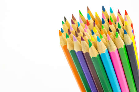 Bundle of colored pencils isolated on white background Reklamní fotografie