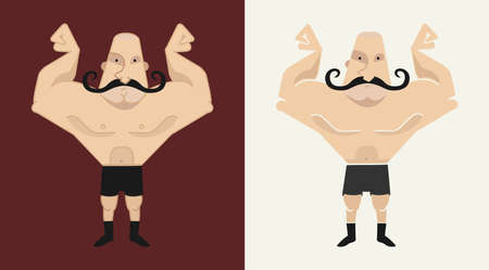 mustached: 2 huge, bald, mustached athletes in 2 different styles  illustration isolated on white