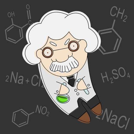 Old cartoon style professor of chemistry vector illustration Vector