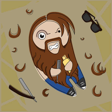 dude: Funny hairy hipster bearded dude with comb and hair gel. Vector comic illustration