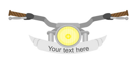 Motorcycle steering wheel. Retro cartoon style with desaturated colors Illustration