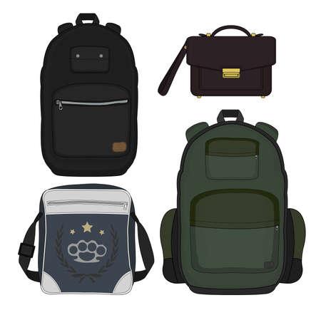 Set of 4 fashionable men bags: urban backpack, briefcase, shoulder bag, travel backpack. Isolated. Vector