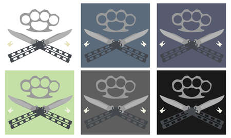Crossed butterfly knifes with steel brass knuckle and broken teeth emblem in different backgrounds : white, blue, violet, green, gray, black Vector