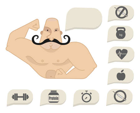 steroids: Bodybuilder torso with speech bubbles. Dumbbell, protein, timer, steroids, food, heart rate, kettlebell, stop steroids. Web site trainer. Mustached
