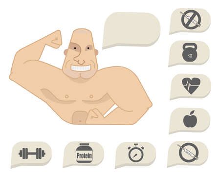 Bodybuilder torso with speech bubbles. Dumbbell, protein, timer, steroids, food, heart rate, kettlebell, stop steroids. Web site trainer. Happy face Illustration