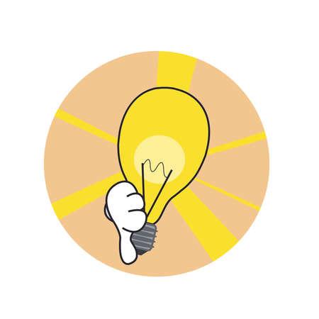 bad idea: Bad idea lamp icon. Finger point down Illustration
