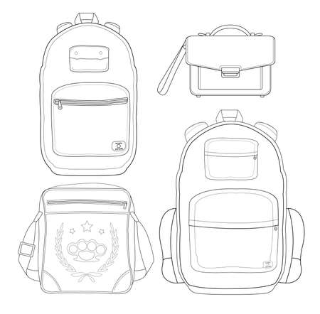 Set of 4 fashionable men bags: urban backpack, briefcase, shoulder bag, travel backpack. Line art. Black and white, Isolated Vector