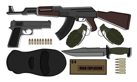 Military weapon pack terrorism.AK-47, pistol, grenades, knife, bullets, mask, explosive Vector