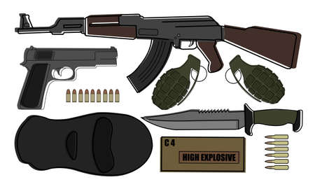 balaclava: Military weapon pack terrorism.AK-47, pistol, grenades, knife, bullets, mask, explosive